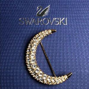 💃 💃 Swarovski Gold Tone half moon Brooch